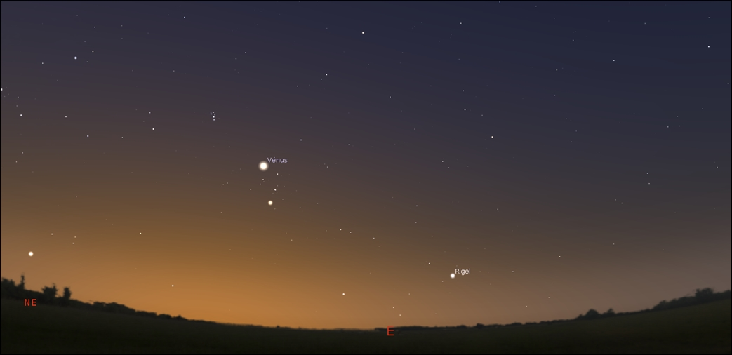 Venus when climbing back like a morning star, is passing by Aldebaran, the bright star to constellation Taurus, the Bull!